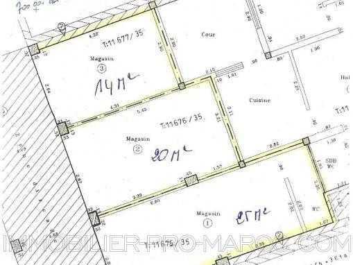 La cession du droit au bail pour 3 Locaux commerciaux, 14m², 20m² et 25m² sur le boulevard principal